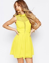 Liquorish Skater Dress With Lace Insert Yellow