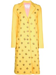 Carolina Herrera Embellished Coat Yellow