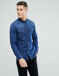 Tom Tailor Slim Fit Denim Shirt With Raw Edge And Sleeve Patch 1095 Blue