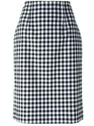 Blumarine Gingham Check Pencil Skirt Black
