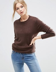 Asos Cropped Jumper With Rolled Edge Detail In Fluffy Yarn Chocolate Brown