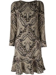 Etro Damask Print Drop Waist Dress Multicolour