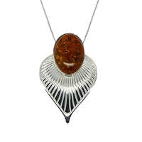 Goldmajor Sterling Silver Amber Art Deco Pendant Silver Amber