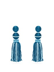 Oscar De La Renta Bead Embellished Tassel Drop Clip On Earrings Blue