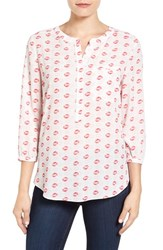 Nydj Petite Women's Henley Blouse Kiss And Tell Pink Gerber