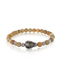 Blackbourne Rock Irregular Stone Men's Bracelet W Gunmetal Swarovski Crystal Skull Brown