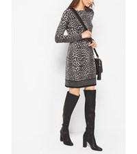 Animal Print Matte Jersey Dress Black