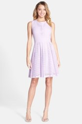 Betsey Johnson Cutout Eyelet Lace Fit And Flare Dress Purple