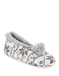 Kensie Faux Fur Lined Pom Slippers Ivory