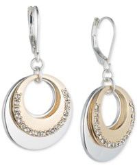 Nine West Two Tone Pave Circle Layered Drop Earrings Two Tone