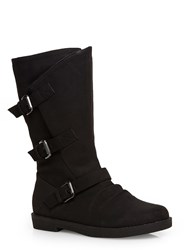 Evans Extra Wide Fit Triple Buckle Calf Boots Black