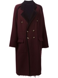 Mm6 Maison Margiela Oversize Double Breasted Coat Pink And Purple