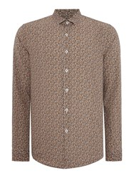 Peter Werth Porter Floral Slim Fit Long Sleeve Button Down Sh Camel