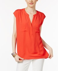 Inc International Concepts Cap Sleeve Contrast Top Only At Macy's Hibiscus Bloom