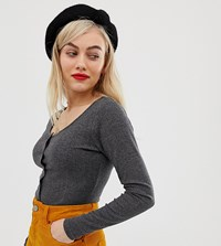 Glamorous Petite Button Front Top In Fine Rib Grey