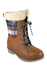London Fog Swanley Faux Shearling Trim Cold Weather Boot Brown