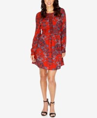 Lucky Brand Macrame Printed A Line Dress Red Multi