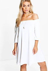 Boohoo Nina Off Shoulder Swing Dress Cream