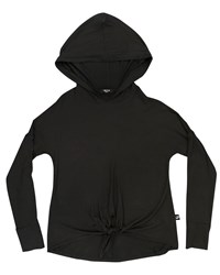 Terez Tie Front Hooded Top Black