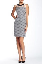 Orla Kiely Silk Beaded Neck Fitted Dress Blue