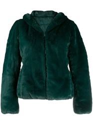 Save The Duck Reversible Faux Fur Hooded Jacket Green
