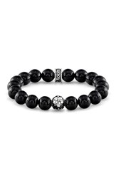 Room 101 Men's Agate Bead Bracelet Black Silver