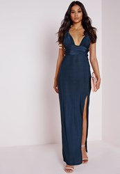 Missguided Do It Any Way Multiway Slinky Maxi Dress Navy