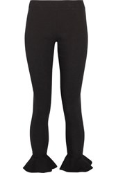 Michael Lo Sordo Ruffle Trimmed Ribbed Stretch Knit Leggings Black