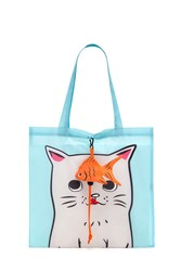 Forever 21 Cat Graphic Pop Out Tote Bag Blue Multi