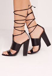 Missguided Tie Ankle Strap Block Heels Black Black