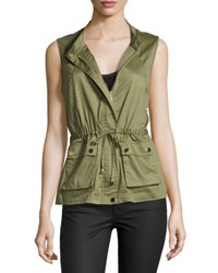 Cusp By Neiman Marcus Drawstring Stretch Cotton Vest Army Green