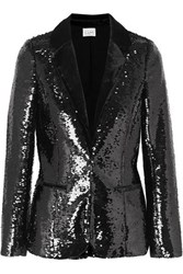 Cami Nyc The Lennon Velvet Trimmed Sequined Crepe Blazer Black