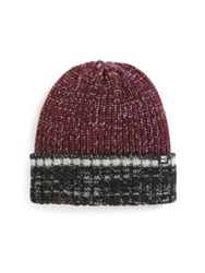 Block Headwear Marled Sherpa Lined Cuffed Beanie Burgundy Multi