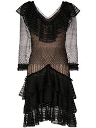 Alexander Mcqueen Sheer Ruffle Dress Black