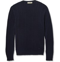 Burberry Slim Fit Cable Knit Cashmere Sweater Blue