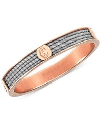 Charriol Two Tone Bangle Bracelet In Stainless Steel And Rose Gold Tone Pvd Stainless Steel Silver