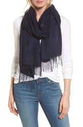 Nordstrom Women's Tissue Weight Wool And Cashmere Scarf Navy Evening