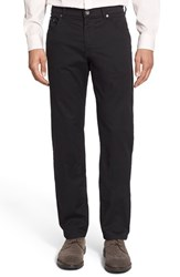 Men's Brax Flat Front Stretch Cotton Trousers Perma Black