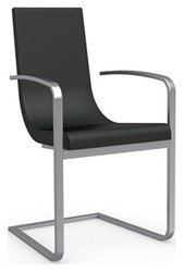 Calligaris Cruiser Cantilever Armchair 683 Black Leather P95 Satin Finished Steel Metal Gray