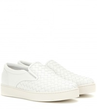 Bottega Veneta Intrecciato Leather Slip On Sneakers White