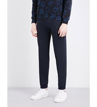 Sandro Elasticated Cuff Relaxed Fit Tapered Wool Blend Trousers Navy Blue