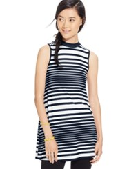 Eyeshadow Juniors' Sleeveless Striped Tunic Nocturnal White