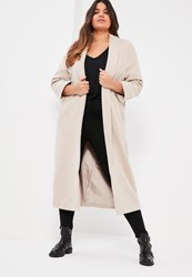 Missguided Plus Size Grey Shawl Collar Faux Wool Coat Stone