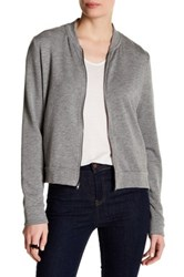 Heather By Bordeaux Fleece Bomber Jacket Gray
