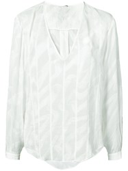 Maiyet V Neck Blouse Women Silk 0 White