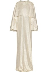 Oscar De La Renta Layered Embellished Metallic Silk Blend Gown Gold