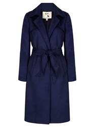 Yumi Suedette Wrap Front Trench Coat Navy