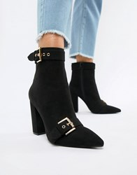 London Rebel Pointed Heeled Ankle Boots Black