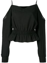 Balmain Off Shoulder Blouse Black