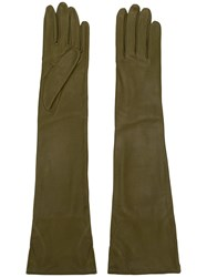 Erika Cavallini Long Leather Gloves Green